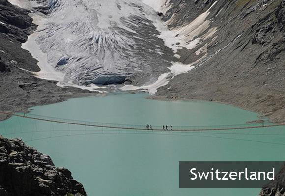 Подвесной мост Трифт в Альпах